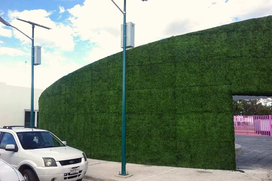 Muro verde sintético en muro perimetral